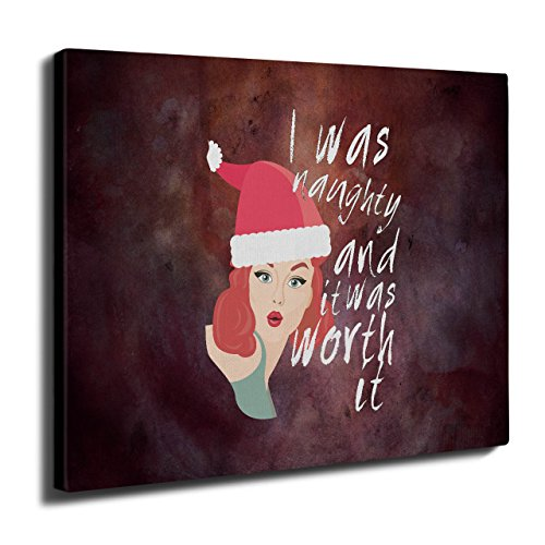 Frech Mädchen Weihnachten Sein Schlecht Wand Kunst Leinwand 40cm x 30cm | (Mädchen Nationalen Kostüm Chinesischen Für)
