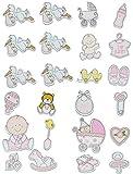 Unbekannt 12 TLG. Set Sticker / Aufkleber aus Holz - Baby mit Glitzer für Mädchen - auch als Streumotiv - zur Geburt Kinderwagen Schnuller Babymotiv Taufe Babyschuhe Ba..