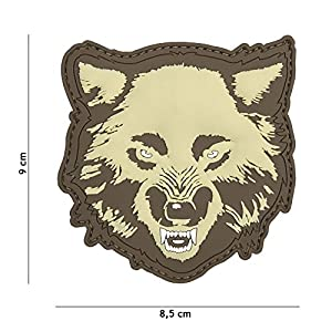 "Patch 3D PVC Wolf ""Loup"" Couleur Sable / Tan / Désert / Coyote / Cosplay / Airsoft / Camouflage …"