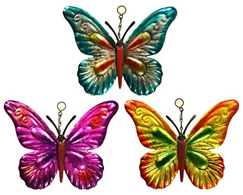 Set of 3 Metal Hanging Butterfly...
