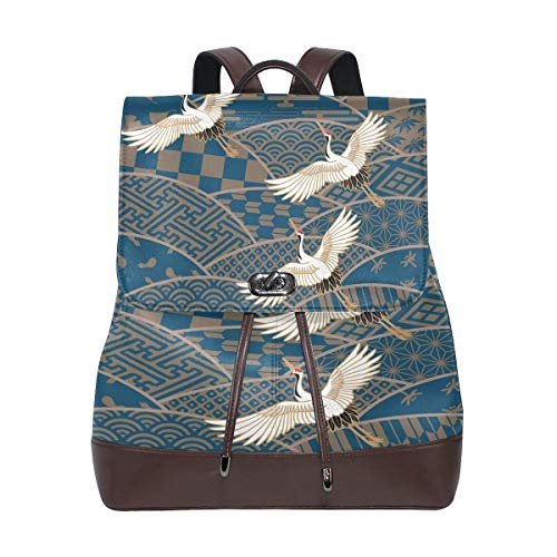 Flyup Japanese Traditional Pattern and Crane PU Leather Backpack Photo Custom Shoulder Bag School College Book Bag Casual Daypacks Diaper Bag for Women and Girl Frauen Leder Rucksack - Vera Leder Bradley Handtaschen Aus