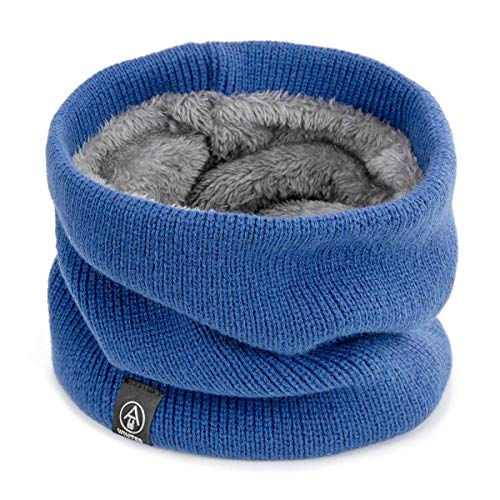 Winter Double-Layer-weiches Fleece gefüttert Dicker Strick Halswärmer Kreis Schal Winddicht -