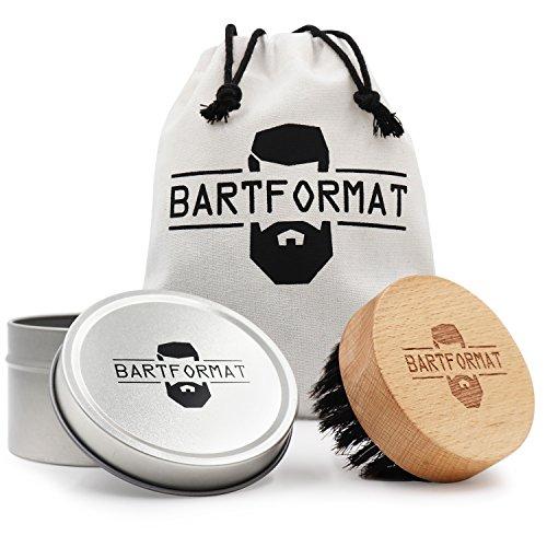 BARTFORMAT Bartbürste mit 100% Wildschweinborsten aus Buchenholz mit praktischer Griffmulde - inkl. Aufbewahrungsbox und Baumwollbeutel für die Reise
