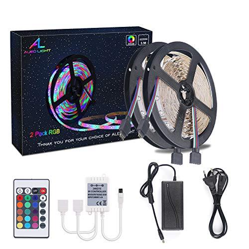 LED RGB Luces de Tira de 10m(2x5 Metros), ALED LIGHT 3528 SMD 600 LEDs Habitacion Flexible Tira de LED + Controlador IR + Fuente de Alimentación Tira LED de Luces LED Kit Completo para Decoración