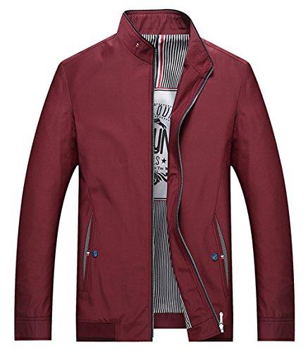 Brinny Herren Casual Jacke Outdoor Sportswear Windbreaker Leichte Bomber Jacken Mäntel Rot