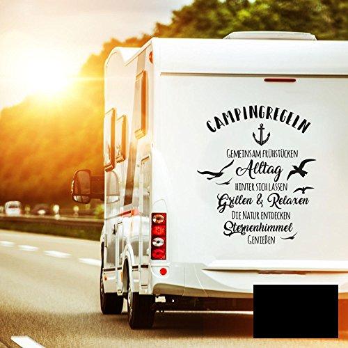 Autotattoo Camping mit Anker Heckscheibenaufkleber Wohnwagen Sticker Campingregeln Autosticker Wohnmobil M2376 - ausgewählte Farbe: *schwarz* ausgewählte Größe: *XL - 117cm hoch x 100cm breit*