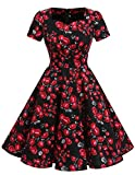 Dresstells Damen Vintage 50er Rockabilly Kurzarm Swing Kleider Partykleid Black Small Rose 3XL
