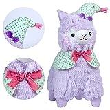 KOSBON 14 '' Púrpura Good Night Plush Alpaca, 100% Peluche Juguetes de muñeca de peluche, los mejores regalos de cumpleaños para los niños Niños (Nightcap)