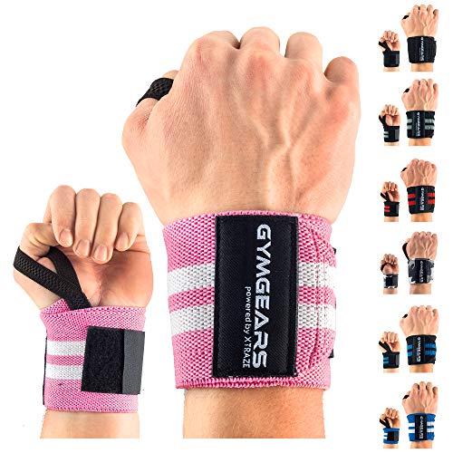GYMGEARS Handgelenk Bandagen [2er Set] Wrist Wraps 45cm - Profi Handgelenkbandage für Kraftsport, Bodybuilding, Powerlifting, Crossfit & Fitness - Für Frauen & Männer geeignet