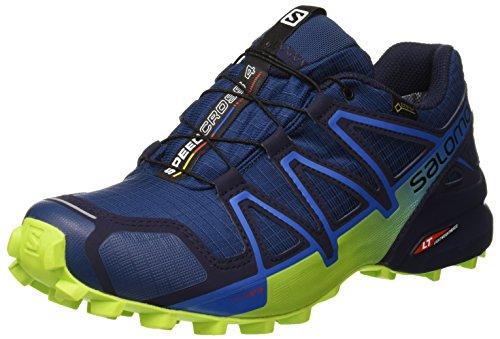 Salomon Herren Speedcross 4 GTX Trailrunning-Schuhe, Blau (Poseidon/Navy Blazer/Lime Green), Gr. 42 2/3