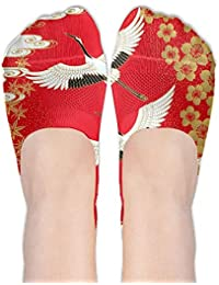 Japanese Cranes Floral Print Antiskid And Lovely Special Sock One Size