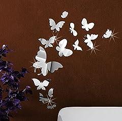 Idea Regalo - Extsud® Adesivo Murales Carta da Parete Farfalle, Wall Stickers a Specchio, Decorazione da Muro per Casa Hotel Salotto Camera da Letto Camerette da Bambini (Argento)