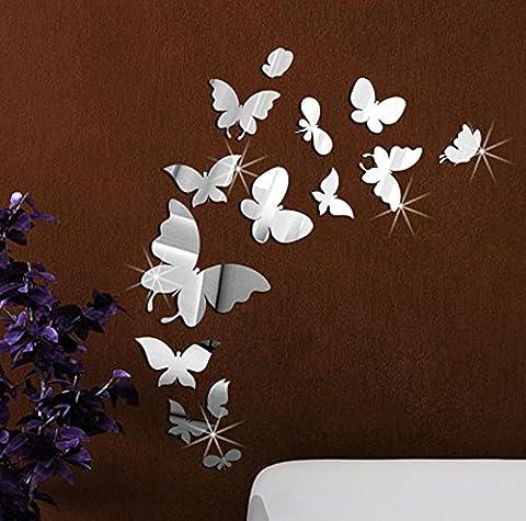 Extsud® DIY 3D Spiegel Wandaufkleber Schmetterling Wandtattoo Wandsticker Wandbild Wand-Dekoration für Kinder Baby Schlafzimmer Kinderzimmer (Silber)