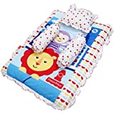Fisher Price GS-03 Mattress Set With Pillow And 2 Bolsters (Multicolor)