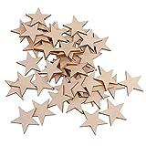 Sharplace 50er Set Handwerk Holz Sterne Scheiben DIY Basteln Holzsterne Deko Kunsthandwerk DIY Verzierungen