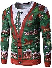 Maglia Maglione Uomo, feiXIANG Uomo autunno inverno Xmas Natale Stampa Top uomo a maniche lunghe T-shirt camicetta-poliestere- O-collo