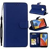 Motorola Moto E4 Plus Hülle – Linvei Premium Luxuriös PU lederhülle [Vollständigen Schutz] [Kreditkartenfach] Flip Brieftasche Schutzhülle im Bookstyle für Motorola Moto E4 Plus (5.5'') - Blau