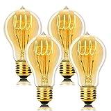 Wedna Edison Vintage Glühbirne, Warmweiß Edison Glühbirne Fadenlampe Leuchtmittel, E27 60W A19...