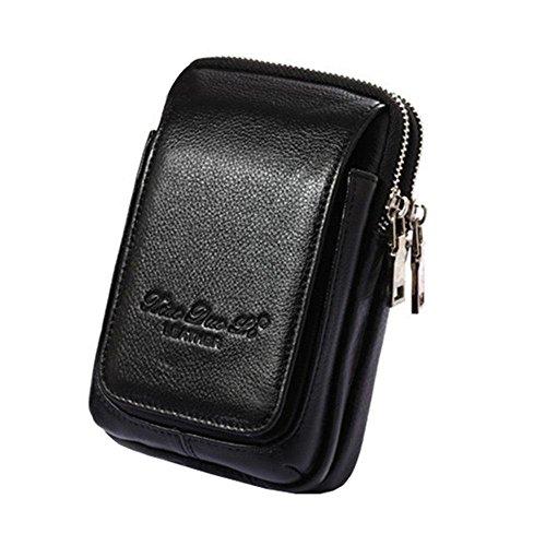 Aolvo - Cartuchera multifuncional, de piel auténtica de primera, ideal para iPhone 8 Plus, cartera con presilla para llevar en el cinturón, de cintura