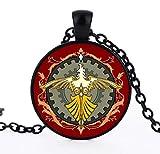 Baoleiju Glass Final Fantasy - Collar con Colgante de cabujón con diseño de pájaro de Rosefinch Negro