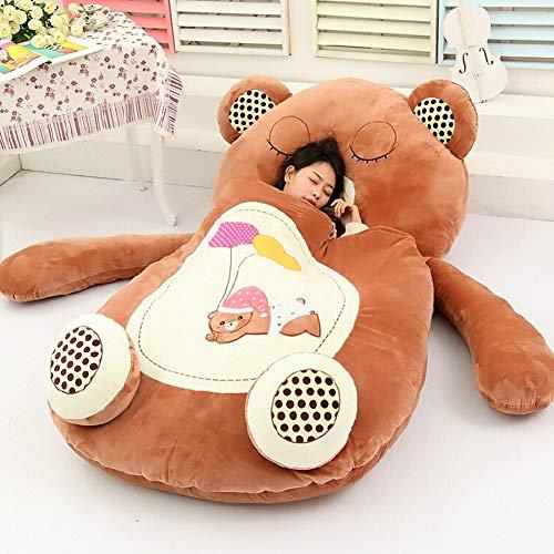 Materasso di cartone animato Tatami Simpatico peluche animale Rana, divano letto singolo scimmia Gatto, orso sacco a pelo bambino Divano pigro Regalo di compleanno per ragazzo e ragazza,Bear,L(2x1.1m)