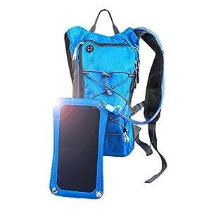 Zaino solare con BPA-Free 1.8L idratazione e pannello solare 6.5 watt per i telefoni cellulari, tablet, altoparlanti Bluetooth e altri dispositivi 5V