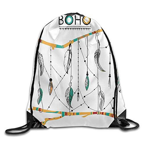 CSXKUL Feather House Native American Classic Retro Feathers Hippie Old Culture Ritual Artwork Drawstring Bags Travel Gym Backpack -