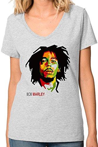 Bob Marley Inspired Pop Art Portrait V collo maglietta da donna Large