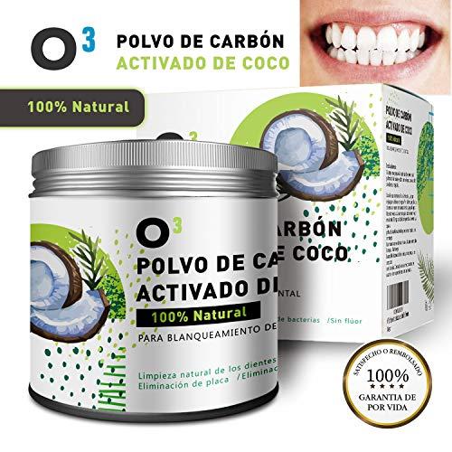 O³ Carbon Activado Dientes - Polvo Blanqueador Dental De Coco 100% Natural - Dientes Blancos Con...