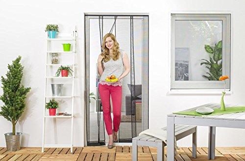 Wirksamer Insektenschutz: Lamellenvorhang aus Filatec-Gewebe für Balkontüren bis 100 x 220 cm, Fliegengitter mit 4 Lamellen in weiß oder schwarz, einfach und schnell zu montieren