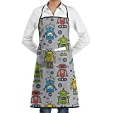 Cute Robots On Gray Adjustable Apron Pocket & Extra-Long Ties, Men Women Kitchen Apron Cooking, Baking, Crafting, Gardening, BBQ