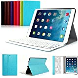 iPad Air 2 Funda con Teclado Bluetooth ,CoastaCloud iPad Air 2 Funda Cubierta Protectora con Teclado Inalambrico QWERTY Español para Apple iPad Air 2 (A1566, A1567)Azul