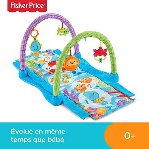 Fisher-Price Tapis musical d'éveil et d'activités 2-en-1 Hippocampe pour bébé, jouets animaux marins suspendus, tunnel à traverser, dès la naissance, DRD92