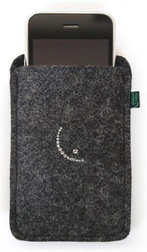 Feltro per iphone 4/s, 3, antracite, decorato con immagine smile in cristalli swarovski;
