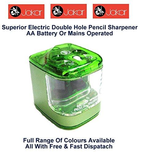Jakar Green Electric Double Hole Anspitzer Farbe Desktop Akku oder Main batteriebetrieben AA...