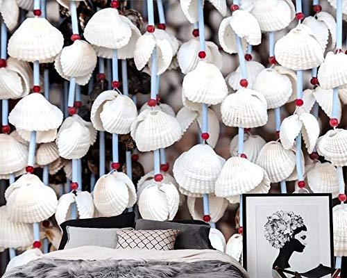 HONGYAUNZHANG Weiße Shell Muster Benutzerdefinierte Fototapete 3D Stereoskopische Wandbild Wohnzimmer Schlafzimmer Sofa Hintergrund Wand Wandbilder,140Cm (H) X 220Cm (W)