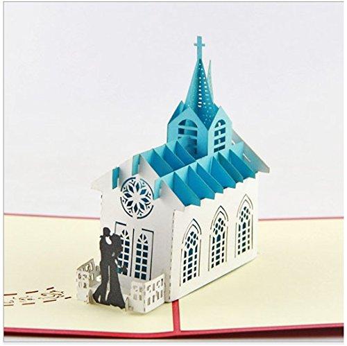 Handgemachte Origami 3D popup Pop-up-Kirche Karte. Hochzeitskarte Einladung, Braut Bräutigam, Hochzeit, Jubiläum, Geschenk, Grußkarte, Valentinstag-Karte, Papier Handwerk, Papierkunst, Verlobungskarte