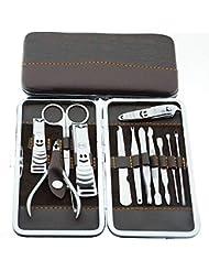 UNHO Finger Toe Nail Cutter Stainless Steel 12 pcs Personal Manicure Nail Scissors Set Nail Clipper Earpick Grooming Pedicure Kits Men/Women Nail Trimmer