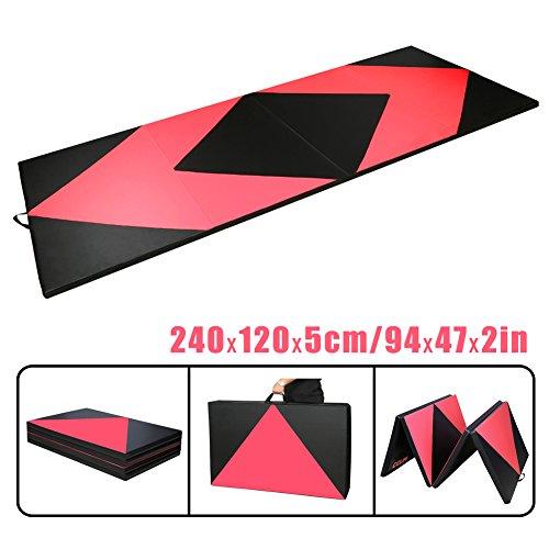 CCLIFE 240x120x5 cm Rose+Schwarz Klappbare Weichbodenmatte Turnmatte Gymnastikmatte, Farbe:Schwarz & Rot A