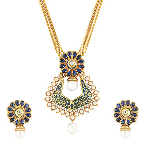 Royal Blue Kundan Ethnic Meenakari Necklace Set by Parisha Jewells with crystal and artificial pearl NL7070016  available at amazon for Rs.349