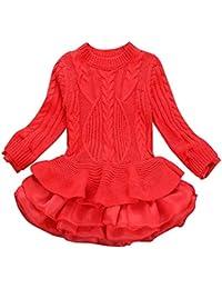 Vestidos niñas Suéter Hecho Punto niños niñas Jerseys de Invierno Vestido de tutú de Ganchillo Abrigo Tops de Ropa Faldas Camisas Blusa Chicas 3-7 Años Gusspower