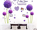 Marco de fotos de flores de diente de león púrpura adhesivo de pared Home Decor vinilo adhesivo...