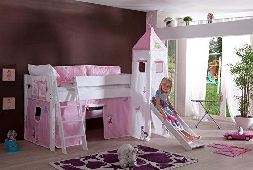 Preisvergleich Produktbild Relita BH1061117-B90+TX5012036+TX5032036-M1 Halbhohes Spielbett KIM mit Rutsche und Turm,  Maße 220 x 113 x 220 cm,  Liegefläche 90 x 200 cm,  Buche massiv weiß lackiert