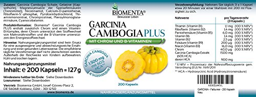 BIOMENTA GARCINIA CAMBOGIA PLUS | AKTIONSPREIS!!! | Garcinia Cambogia Extrakt mit 60% HCA + B-Vitamine + Chrom | 200 Garcinia Cambogia-Kapseln