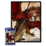 (50) Max Protection Crimson Rider Design Large Gaming Trading Card Protector Sleeves For