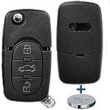 Klapp Schlüssel Gehäuse Funkschlüssel Fernbedienung Autoschlüssel 3 Tasten + 1x CR20 Batterie für AUDI