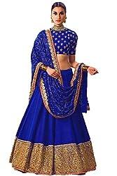 Blue Printed Banglouri Silk Latest Fashionable Lahengha