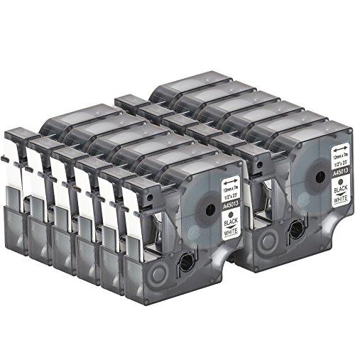 12 Cartuchos para impresión de etiquetas compatible con Dymo D1 45013 en negro sobre blanco 12 mm x 7 m para la LabelManager LabelPoint LabelWriter para DYMO LabelPOINT & LabelManager LM100 / LM120P / LM150 / LM160 / LMPC2 / LM200 / LM210D / LM220P / LM260 / LM280 / LM300 / LM350 / LM400 / LM260P / LM350D / LM360D / LM420P / LM450 / LP350 / LP100 / LP150 / LP200 / LP250 / LP300 / PC / PC2 / PnP / PnP WiFi / LW400 / LW450 Duo