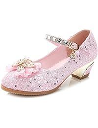 Yy.f YYF Fille Ballerine Chaussures à Talon Déguisement Princesse avec Nœud Papillon  Paillettes pour 7a5fc326e595