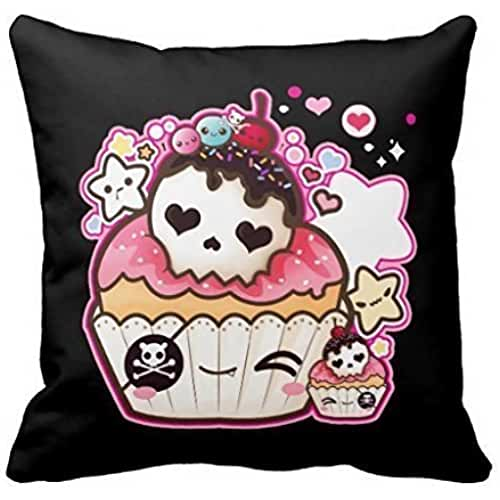 AHArtSaleStore O10L Kawaii Skull Cupcake Decoration Pillow Case Cushion Cover 18 inch